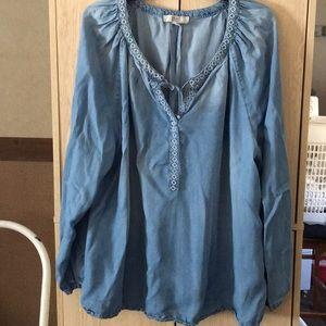 Blue jean light weight blouse